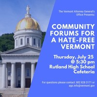 Community Forums for a Hate-Free Vermont