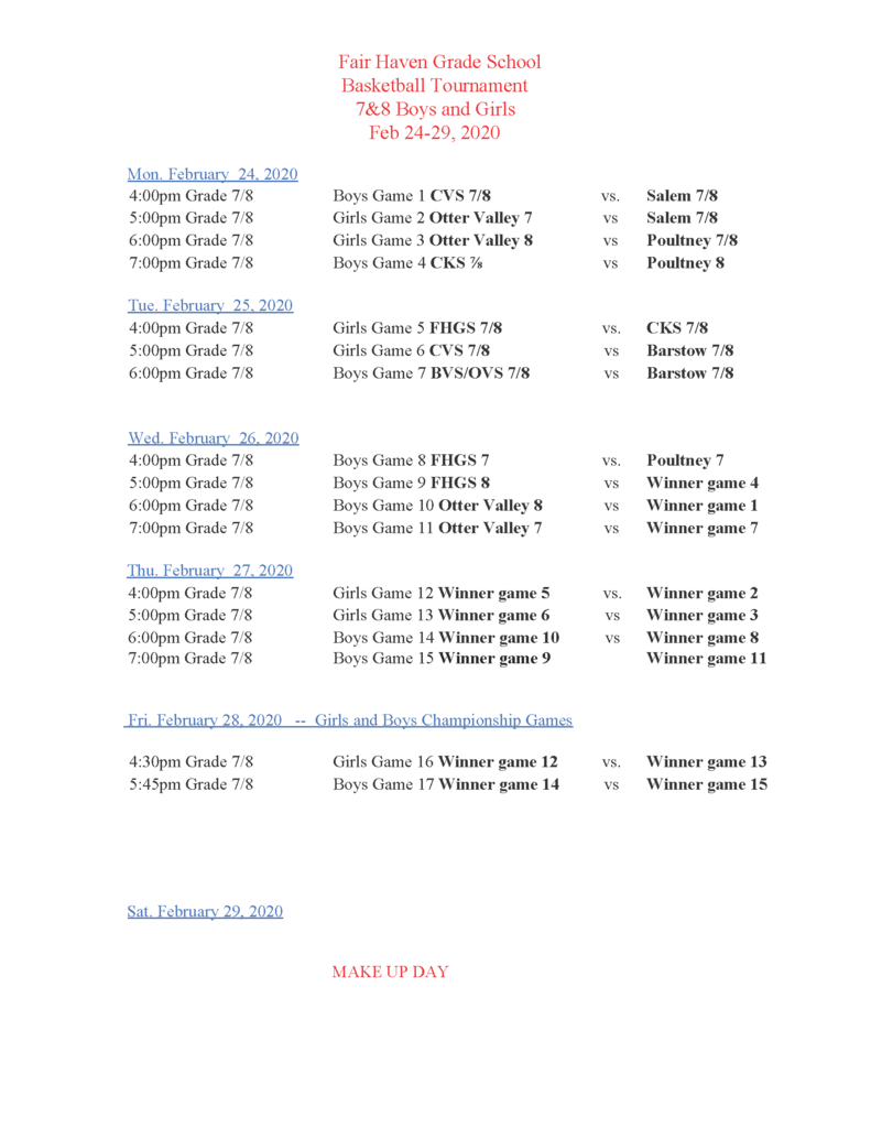 Tournament Schedule 7-8